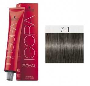 TINTE IGORA ROYAL 7-1 HIGHLIFTS RUBIO MEDIO CENIZA 60ML SCHWARZKOPF
