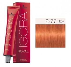 TINTE IGORA ROYAL 8-77 HIGHLIFTS RUBIO CLARO RED COPPER EXTRA 60ML SCHWARZKOPF